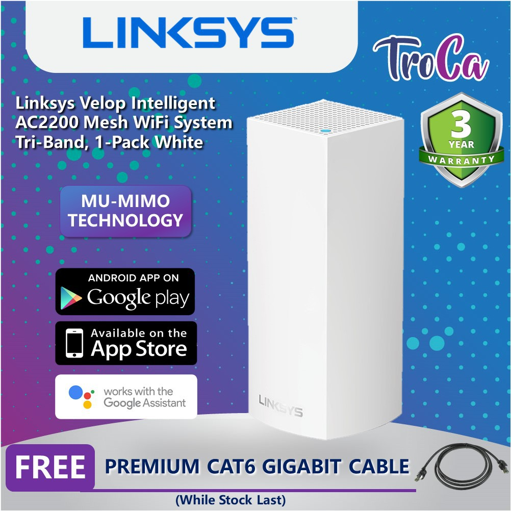 Linksys AC2200 Velop Intelligent Tri-Band MU-MIMO Mesh WiFi Router  System,1-Pack White (WHW0301-AH)