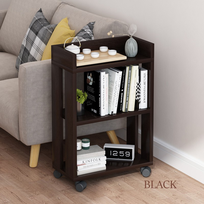 GDeal Home Living Room Movable Tea Table Storage Shelf Simple Bookcase With Wheels