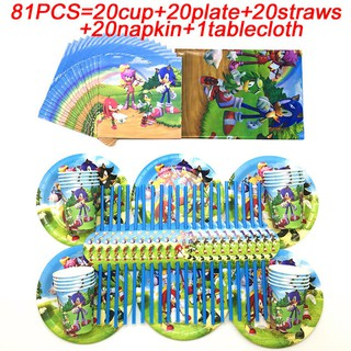 73pcs Sonic The Hedgehog Party Supplies Plate Cup Theme Birthday Party Decor Flag Kids Toy Blowout Baby Shower Party Tableware Set Shopee Malaysia