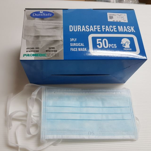 Disposable 3 Pieces Tie-on Face 50 Mask Ply Dura-safe