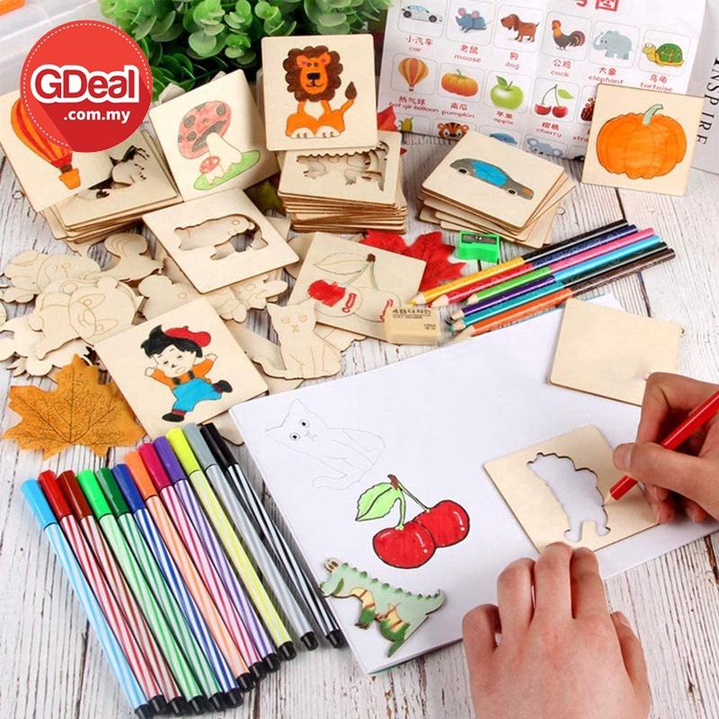 GDeal Kids Drawing Shape Creative Wooden Board Template Educational Toys Fun Learning Papan Lukisan ڤاڤن لوكيسن
