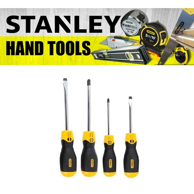 STANLEY 65-199-2 CUSHION GRIP 2 SECREWDRIVER SET 4 PIECES PHILIPS SLOTTED STANDARD PARALLEL HEAD