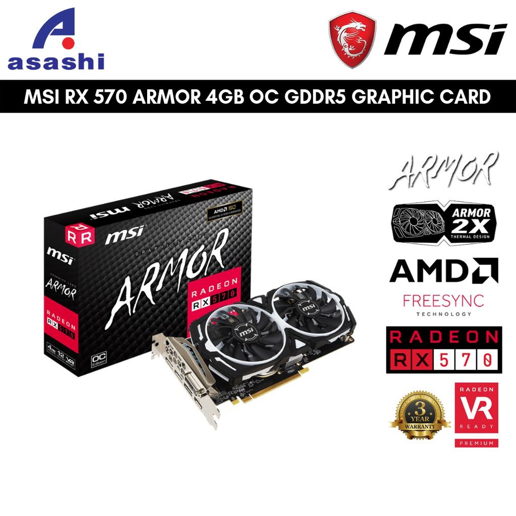 🔥JULY OFFER🔥【READY STOCK & NEW UNIT】MSI AMD RADEON RX 570 ARMOR 4GB GDDR5  GRAPHIC CARD | RX570