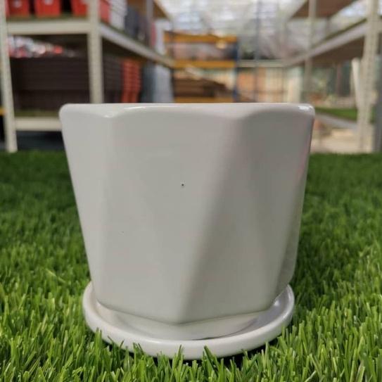 [IGL] Flower pot white glossy series 13x13.5cm ceramic pot [ready stock]