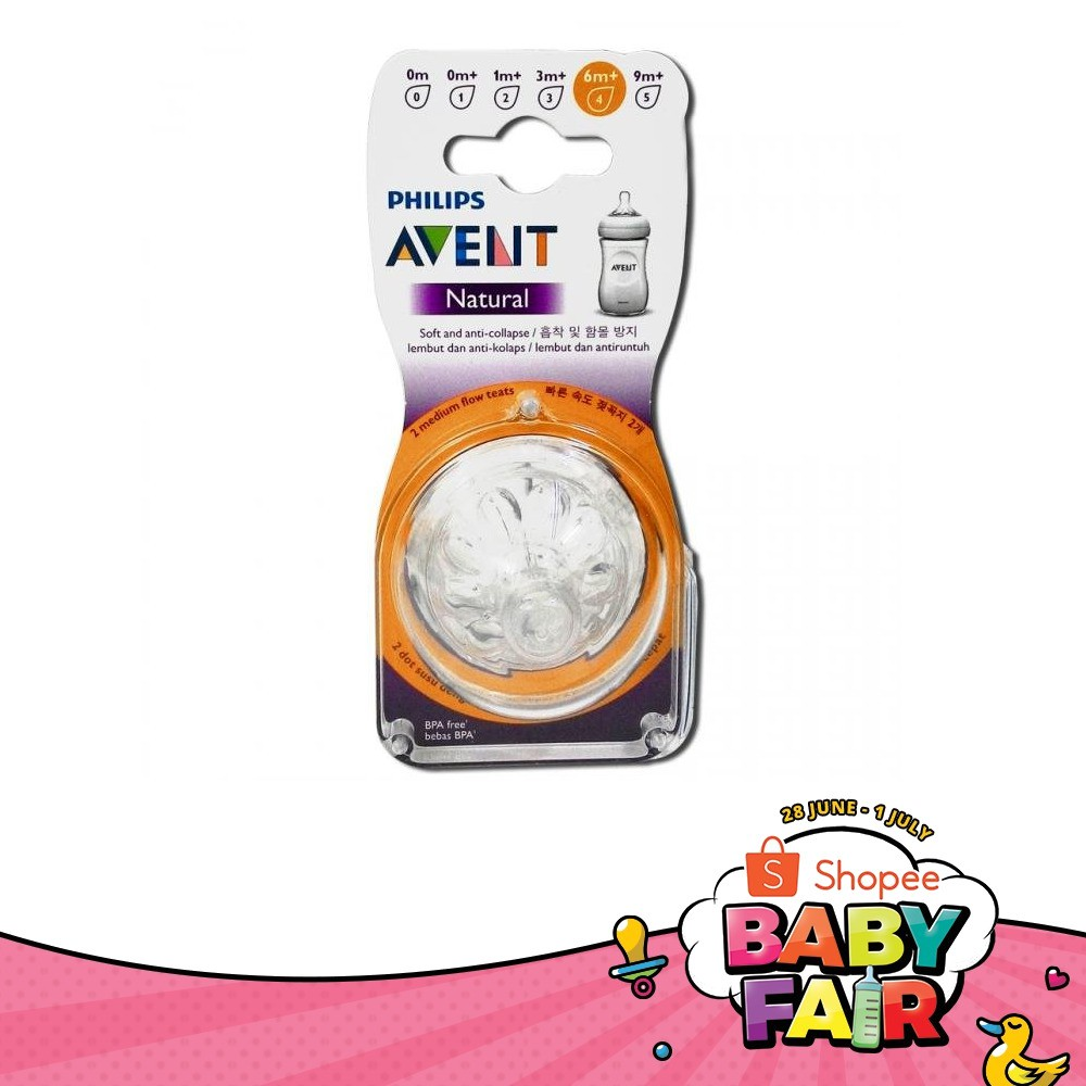 Philips Avent Teats Natural (4 Holes) Fast Flow 6 months | Shopee Malaysia