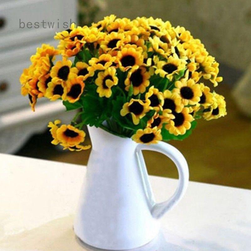 Vase Optional Artificial Realistic Sunflower Bunch