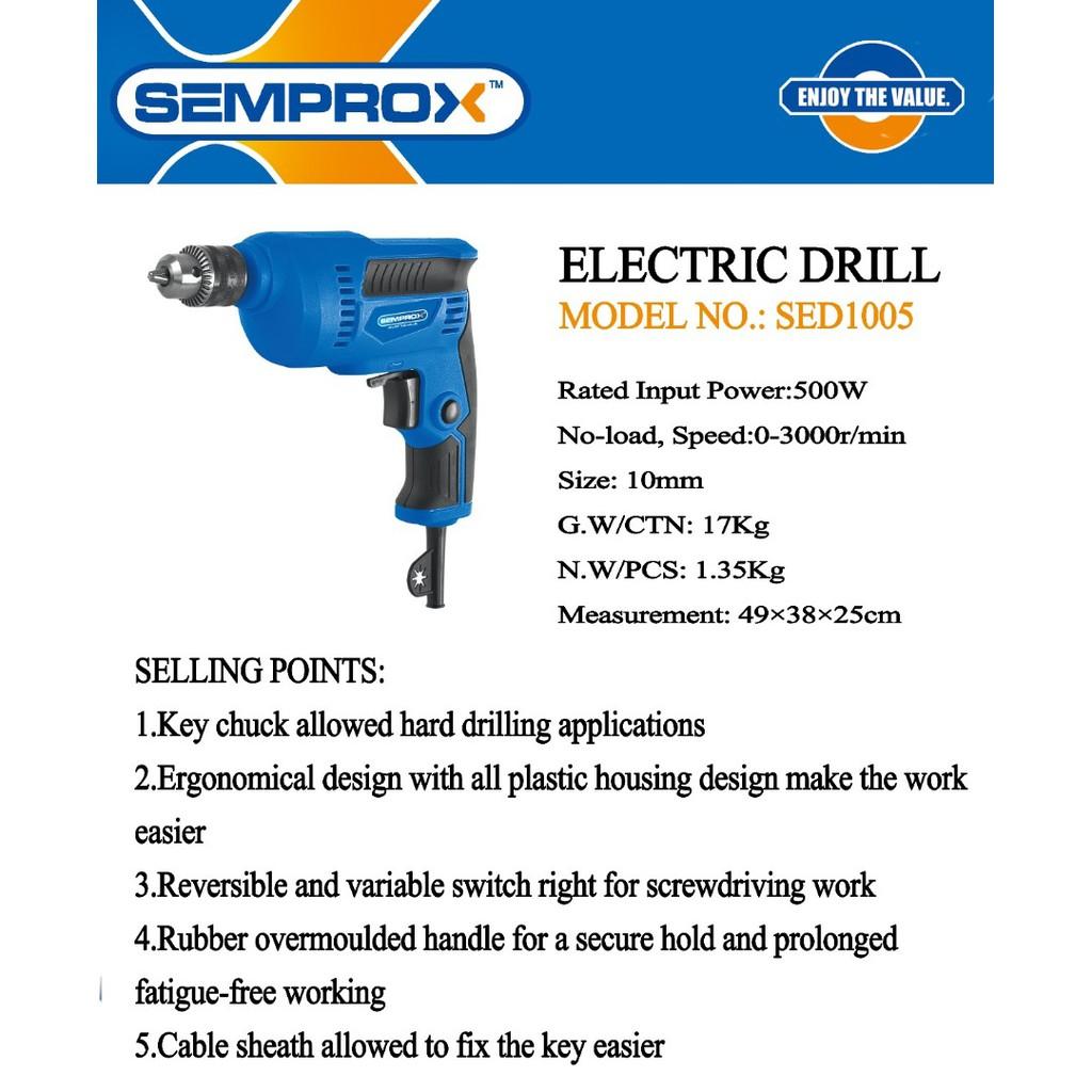 SEMPROX SED1005 500W 10MM ELETRIC DRILL DRILLER GERUDI
