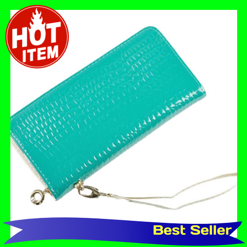 New Fashion Women Long Purse Stone Pattern Patent PU Leather Candy Color Coin Card Wallet Wristlet Bag (Blue)