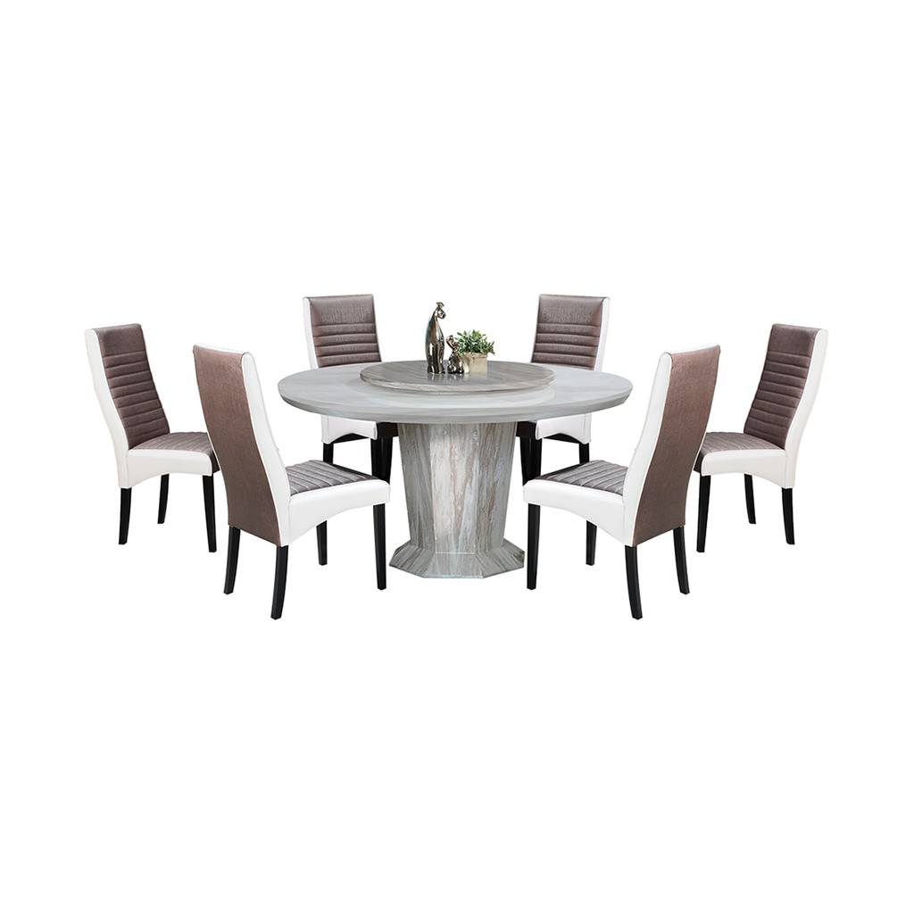 Picture of: Nl Mtx55a4 Luxury Design Round Marble Dining Table Set 1 6 Shopee Malaysia