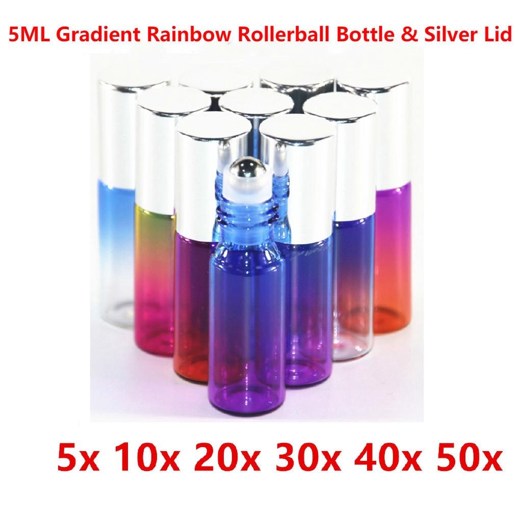 6e7b5e388be3 50 Bottles 5ml Gradient Rainbow Glass Bottle Essential Oil Roller Ball  Bottle