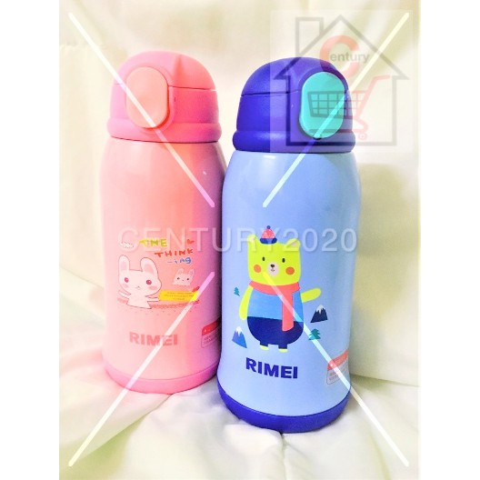 RIMEI Stainless Steel Anti Falling Children Thermos Cup With Straw Dual Purpose Primary School Bottle With Casing