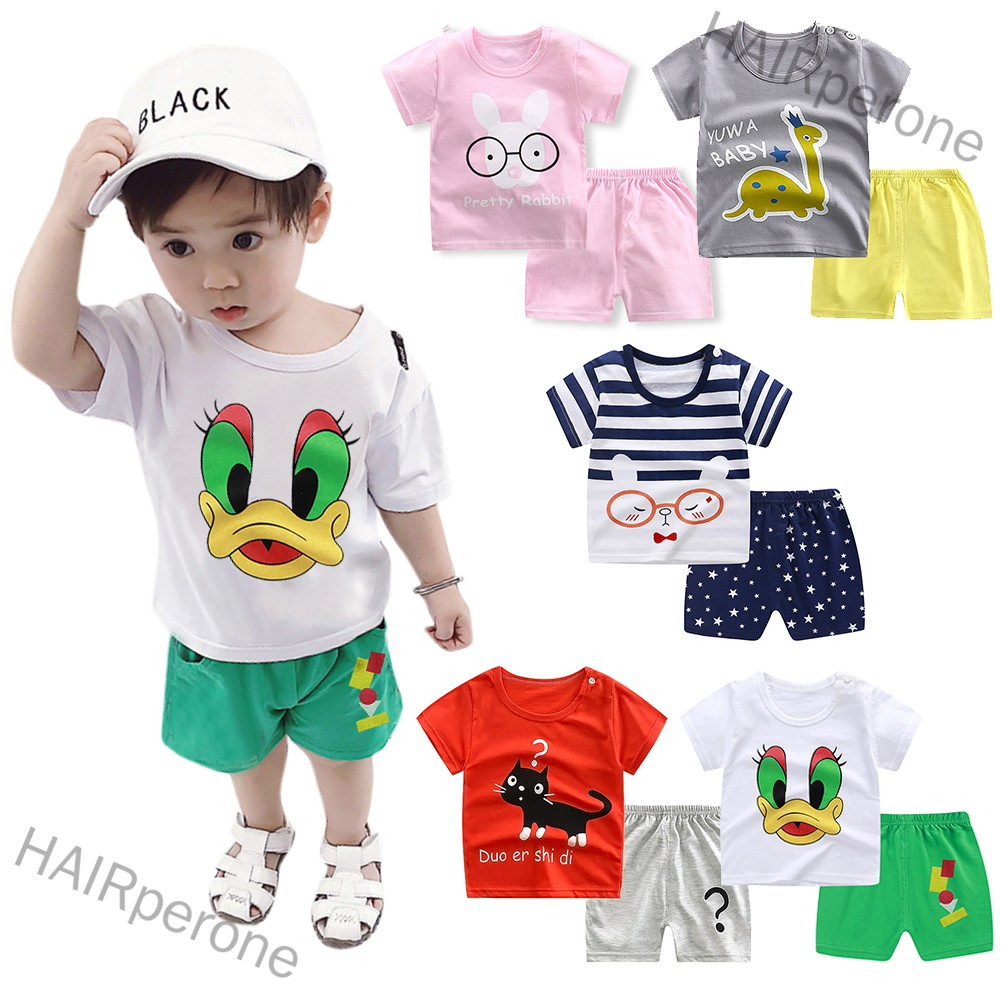 HAIRperone 2pcs/set Boys Girls Cartoon Short Sleeve T-shirt + Shorts Breathable Suit