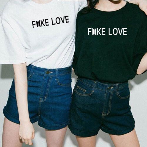 BTS T-Shirt Bangtan Boys Unisex Tee Kpop BTS Fake Love Same Style Short Sleeves Couple T Shirt Tee