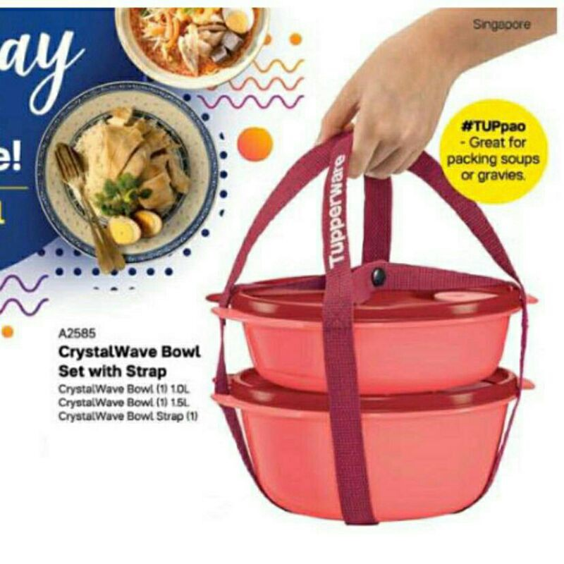 Tupperware Round Lunch Box With Carrier Strap