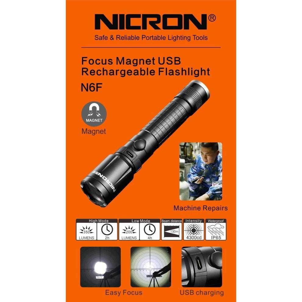 N6F NICRON FOCUS MAGNETIC USB RECHARGABLE FLASHLIGHT TORCH LIGHT LAMP IP65