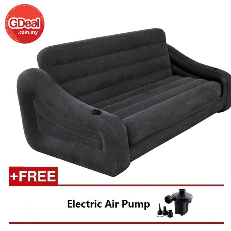 Sporting Intex Deluxe Single Flocking Inflatable Sofa Lazy Sofa,backrest Reclining Chair 1pc with Electric Pump