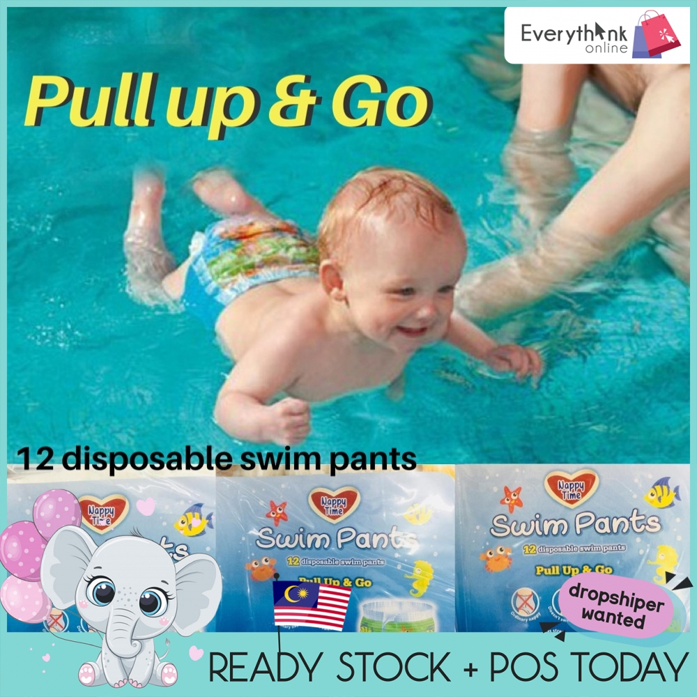 [ONE PIECE] NAPPY TIME DISPOSABLE SWIM DIAPER SWIMMING PANTS SIZE S M L NON SWELL IN WATER SOFT STRETCHY SIDE
