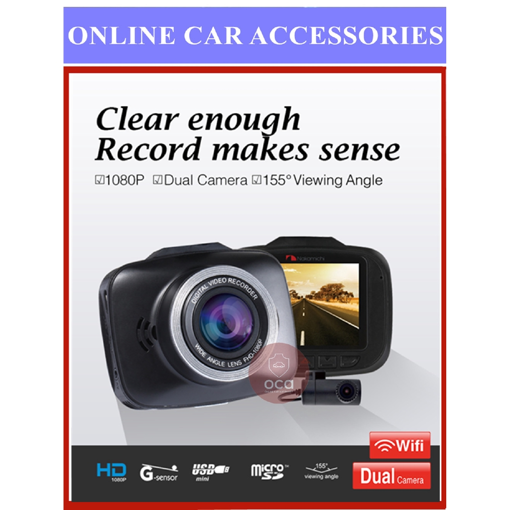 Nakamichi ND39W Dual Lens Front Rear DVR 2.0''Display HD 155° Extra-wide Viewing Angle Dash Cam Car Recorder