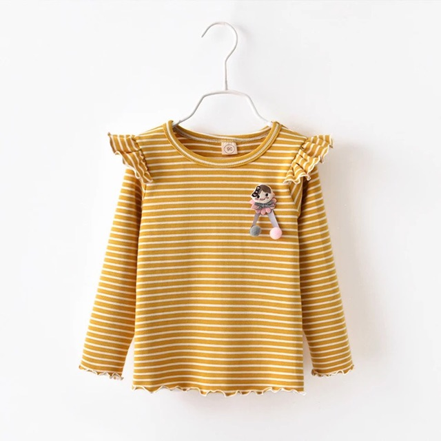[90cm~130cm]Girl Fashion Long sleeve ruffled striped top 女童t恤女新款韩版宽松长袖荷叶袖休闲洋气横条纹秋装上衣潮