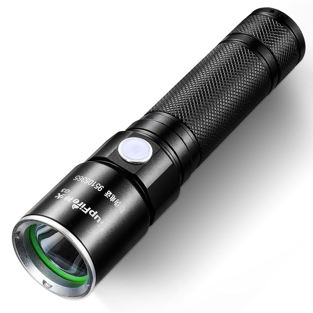 Supfire Flashlight Water-Proof Zoomable Torch Super Bright 700 Lumens LED with 18650 Battery Included,Rechargeable with USB Directly,5 Modes for Camping Hiking Cycling etc,Model A2-X