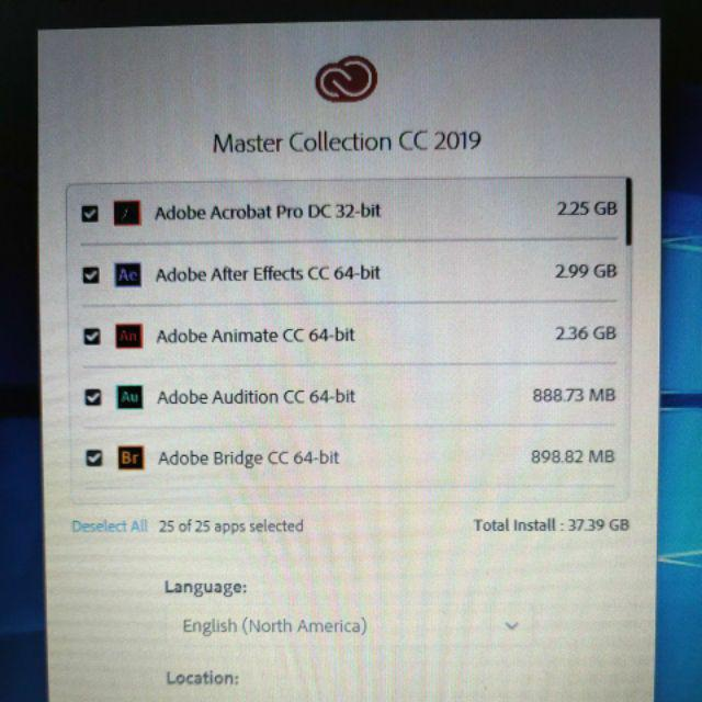 Adobe CC 2019/2018 Full Set LIFETIME [Window 64Bit/ 32Bit