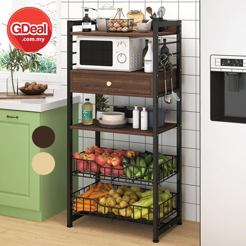 GDeal Multi Layer Microwave Kitchen Oven Floor Durable Storage Rack Rak Dapur رق داڤور