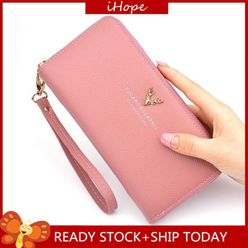 729c4094b564 Ready Stock !Long Zip PU Leather Purses Women Cardholder Fashion Wallet
