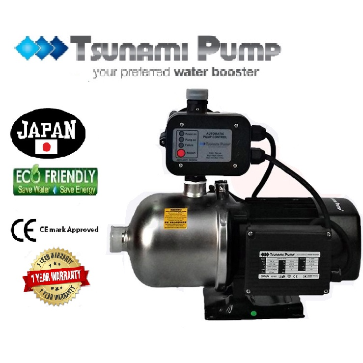 Tsunami CMF4-50-K Food Grade Stainless Steel Casing Home Auto Booster Pressure Water Pump【1 Year Warranty】