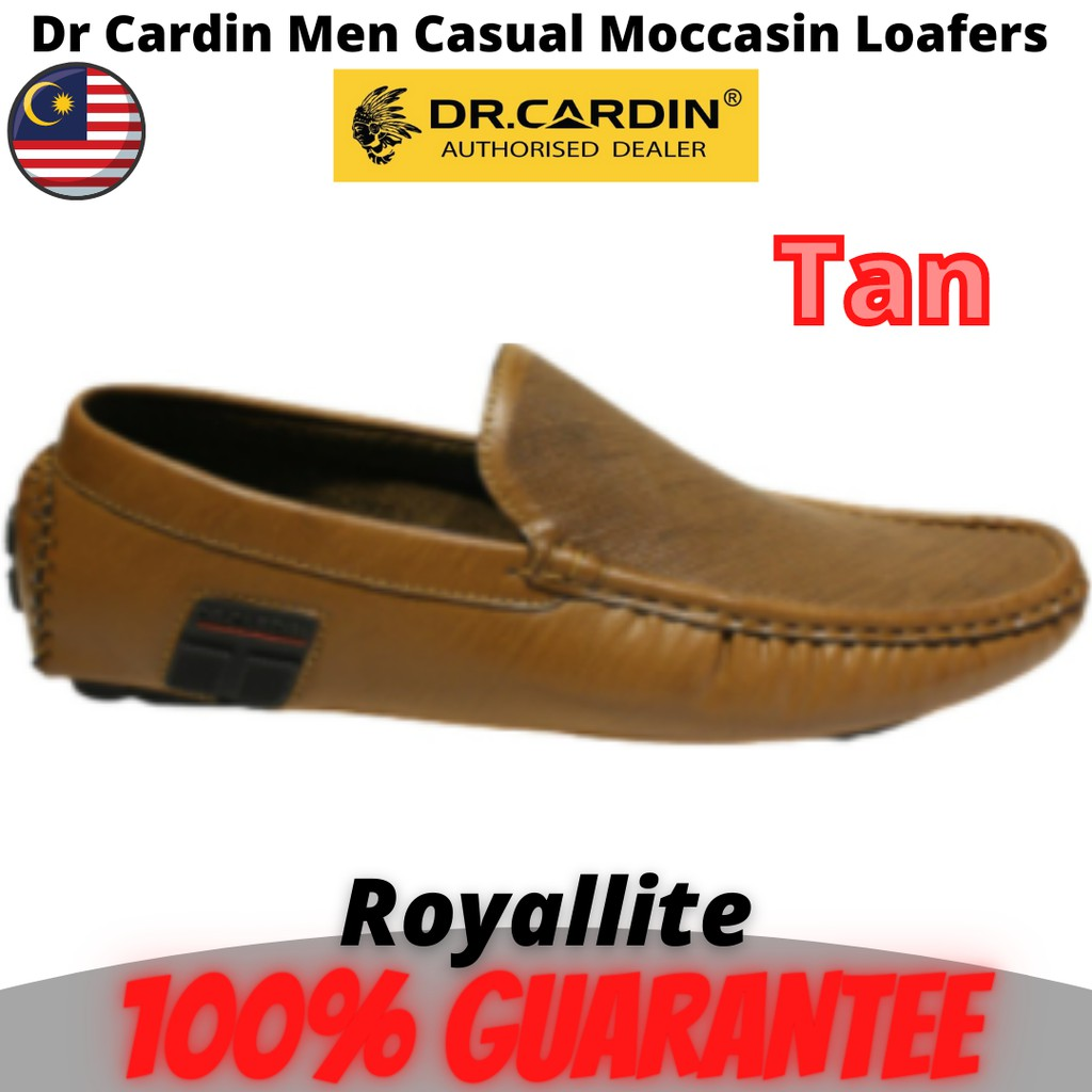 Dr Cardin Men Casual Slip-On Moccasin Loafers with Upper Detailing (60680) Black & Tan