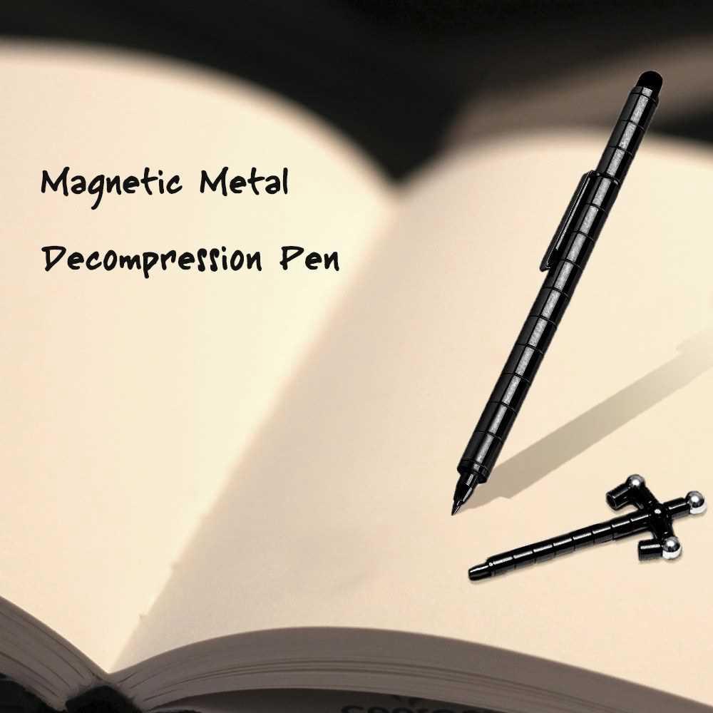 Magnetic Metal Decompression Pen Multi-Function Fun Office Creative Decompression Magnetic Pen Ballpoint Toy Pen (Black