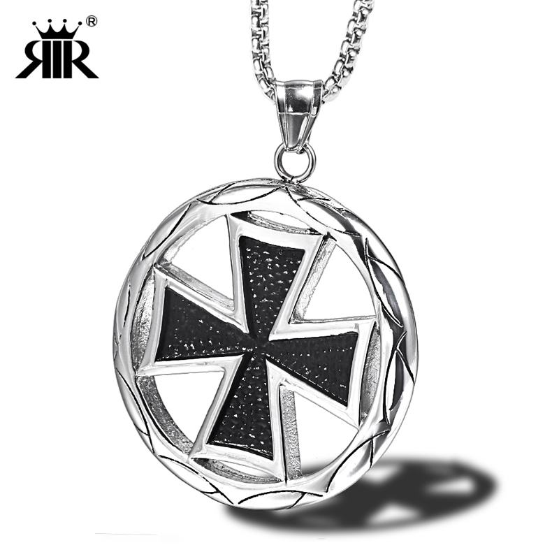 Silver Round Knights Templar Cross Pendant 3mm Braided White Leather Necklace