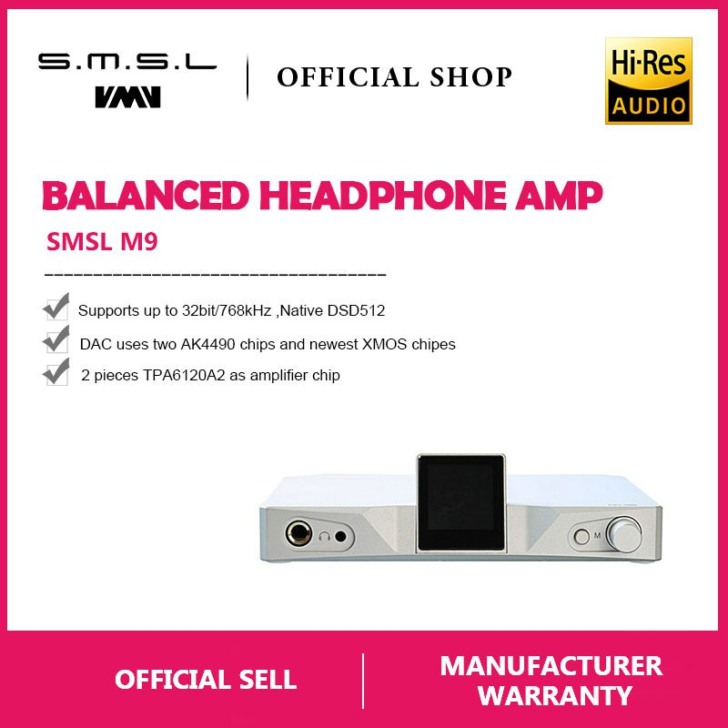 【Ready Stock】SMSL M9 Balanced Headphone Amp AK4490x2 PCM768kHz DSD512 XMOS  DAC