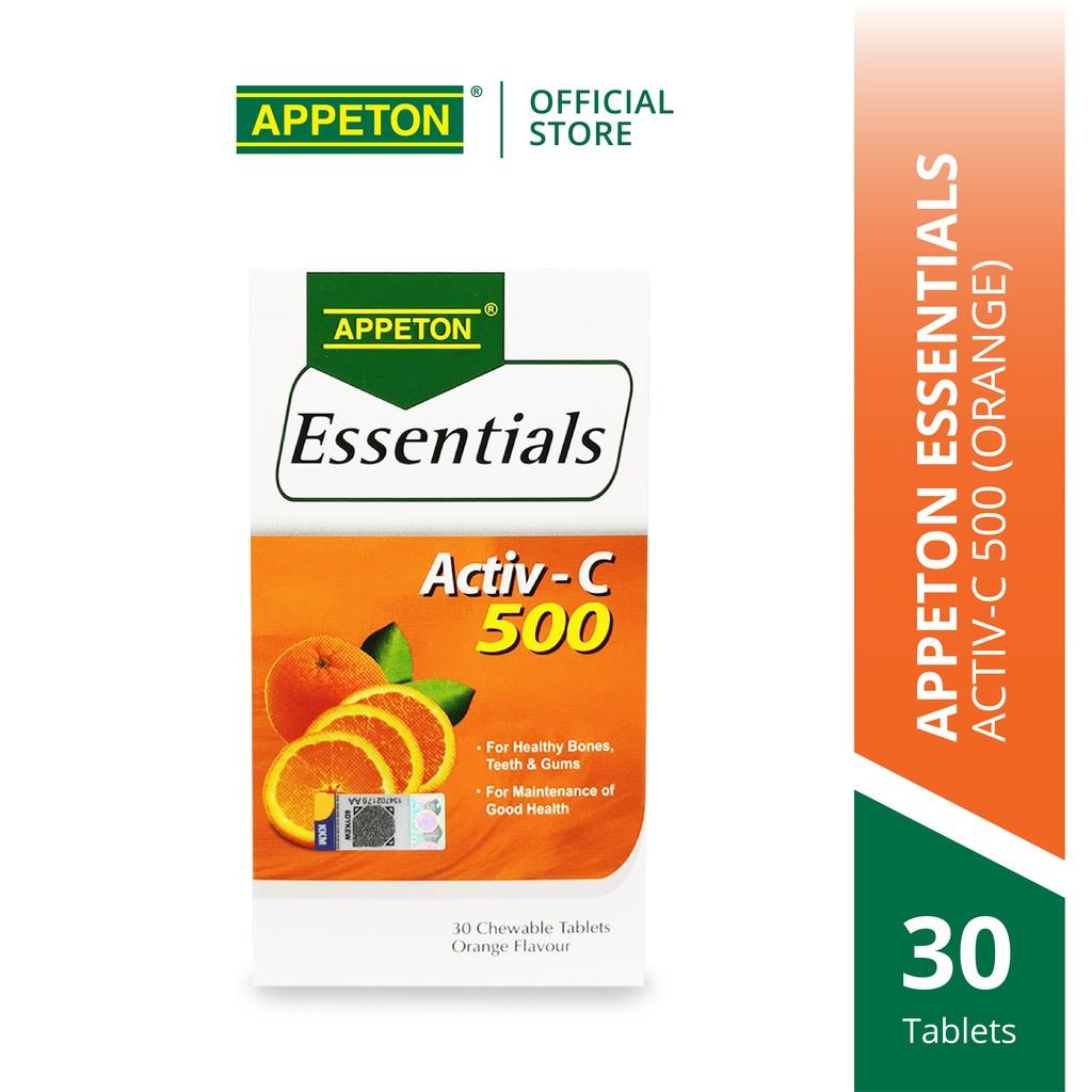 APPETON Essentials Activ-C 500 Orange for Immunity & Antioxidant - Vitamin C for Adult (30's)