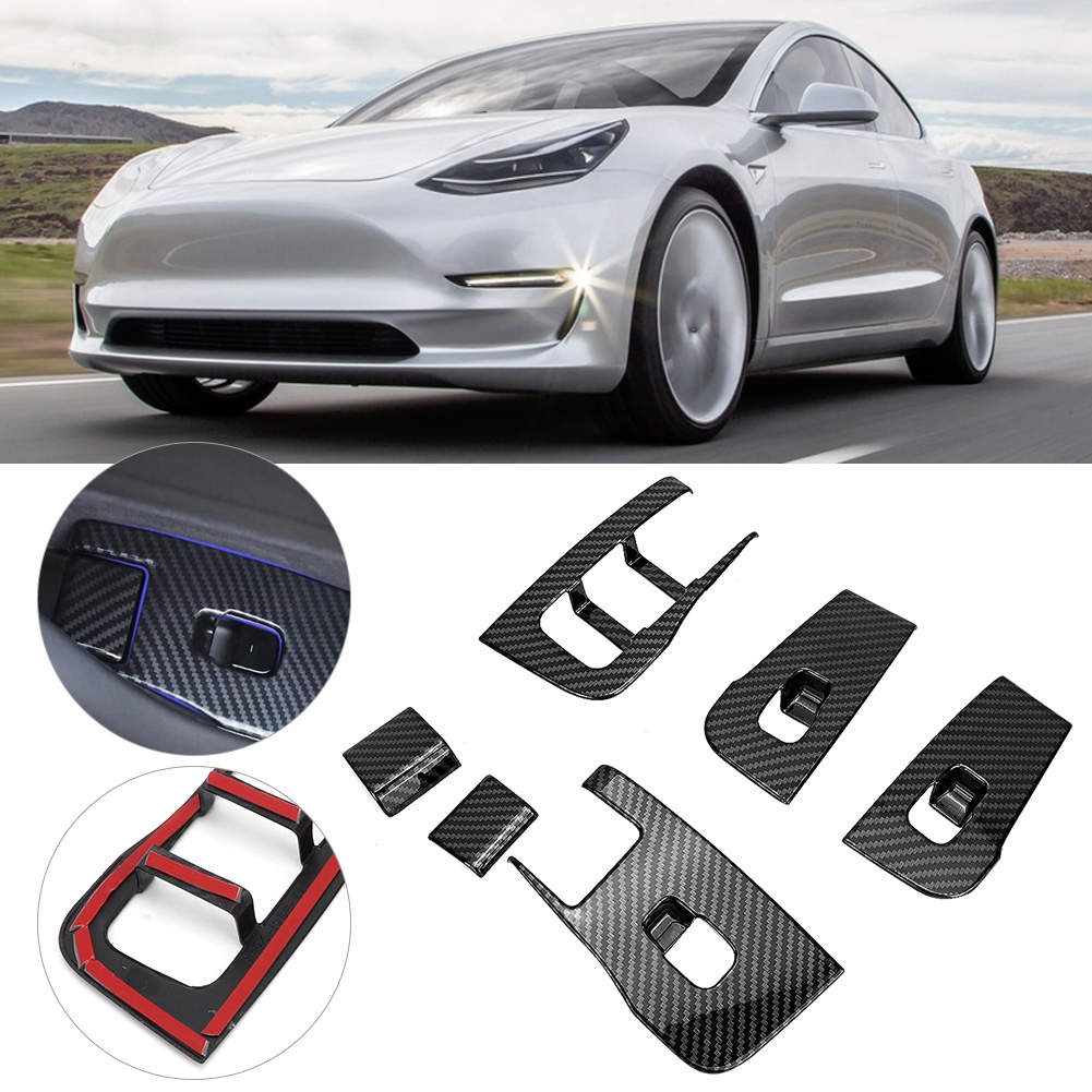 Window Lifter Switch Buttons Decorative Frame Cover Trim Sticker Fits For Tesla Model 3 2018 20
