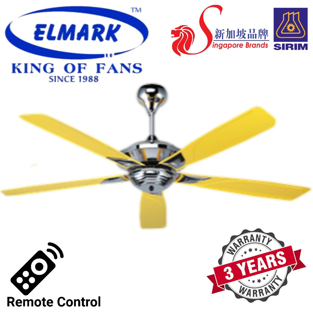 Elmark 56 5 Blades Ceiling Fan With Remote Control F1 Red Yellow Shopee Malaysia