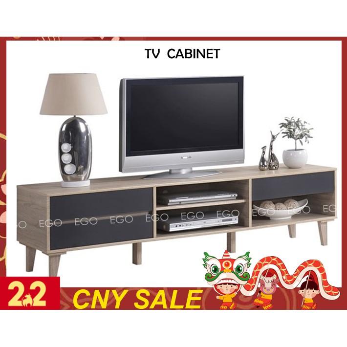 Ego Tv Cabinet 6 Ft Tv Rack Simple Modern Easy Solid Wood Board Open Storage Rak Tv Kabinet Tv Hana Oak Shopee Malaysia