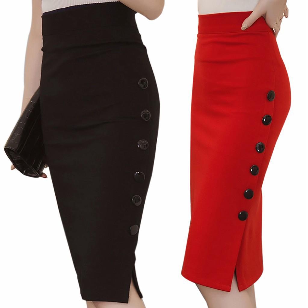 Womens Slim Fitted Bandage Knee Length Straight  Office mini Pencil skirt-Multi