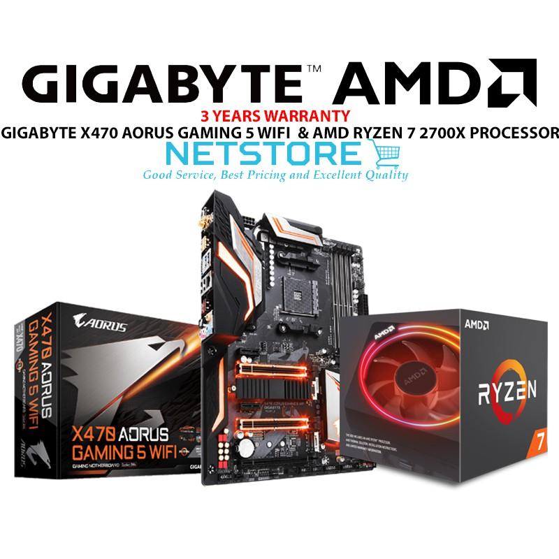PWP GIGABYTE X470 AORUS GAMING 5 WIFI ATX & AMD RYZEN 7 2700X PROCESSOR