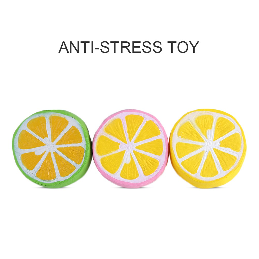 4.3 Inch Jumbo PU Soft Slow Rising Squishy Scented Charms Squeeze Lemon Stress Relief Toy Green 2 Pcs Stress Relief Toys