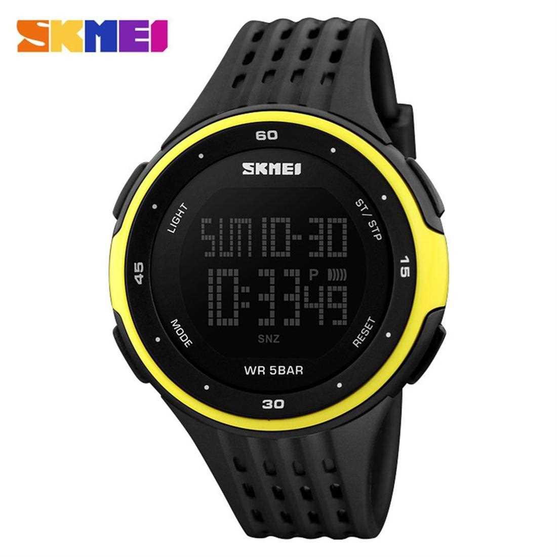 SKMEI 1219 Men Digital Wristwatch 5ATM Waterproof Outdoor Sports Chronograph (Yellow)