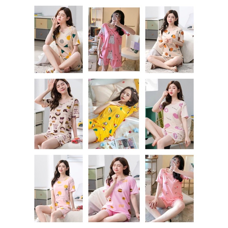 [READY STOCK] WOMEN COTTON MIXED SHORT SLEEVE & SHORT TROUSER SLEEPWEAR PYJAMAS WITH PRINTED DESIGN - XL SIZE(57-64KG)