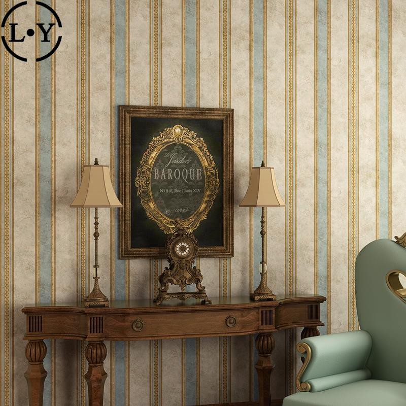 Retro Nostalgic Wallpaper Old Vertical Bar American Country Style Living Room