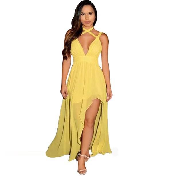 4302bac627ceb Wandergo Sexy Maxi Dress High Slit Strap Deep V Neck Split Dresses Women  2019