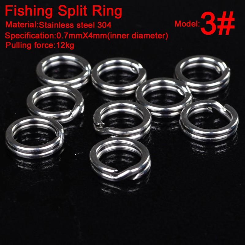 100pc Fishing Split Ring Silver Stainless steel 3#-8# Double Loop Split Open