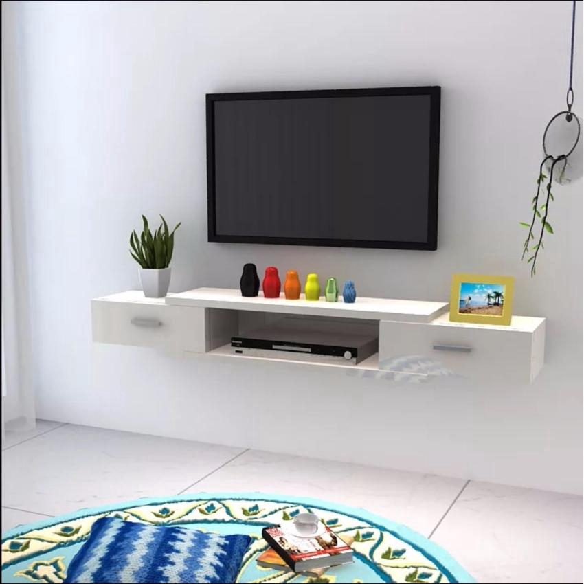 Wall Mounted Tv Cabinet With Drawers Design B White Shopee Malaysia