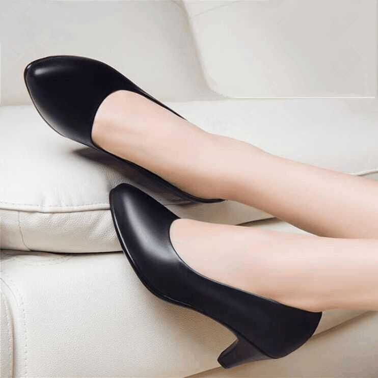 ✇◎✒In the spring and autumn period single female work shoes thick with  interview professional pointed high-heeled big