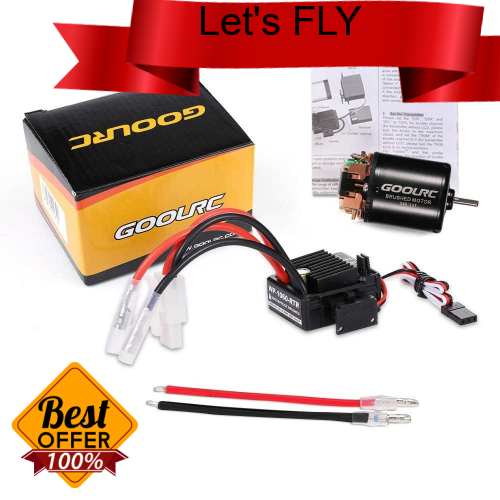 Great Discount GoolRC 540 13T Brushed Motor with 60A ESC Combo for 1/10 Traxxas Ford F-150 RC Car (Multicolor)