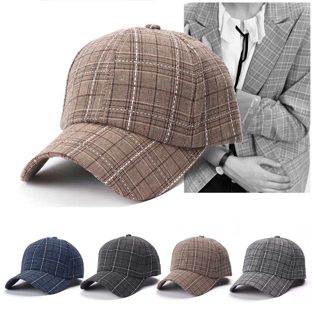 9883fc94 New Casual Men's Plaid Baseball Cap European American Fashion British Trend  Cap | Shopee Malaysia