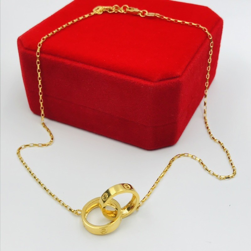 Rantai Leher Screw Mark/ Screw Mark Necklace (Emas 916)