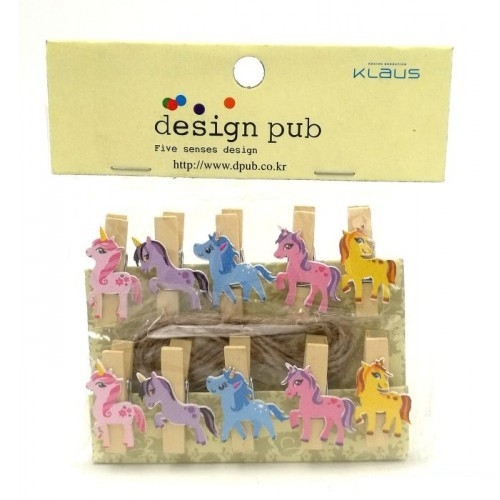 Design Pub Kawaii Wooden Paper Clip For Photo Album With Rope Message Stationery